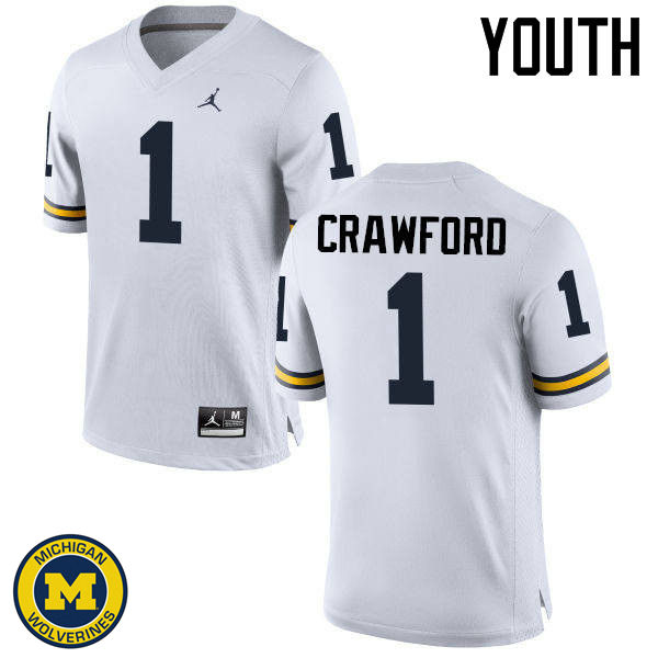 Youth Michigan Wolverines #1 Dylan Crawford College Football Jerseys Sale-White