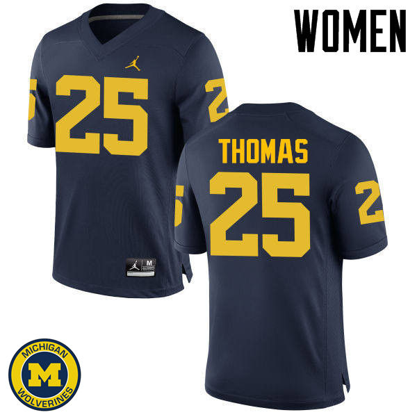 Women Michigan Wolverines #25 Dymonte Thomas College Football Jerseys Sale-Navy