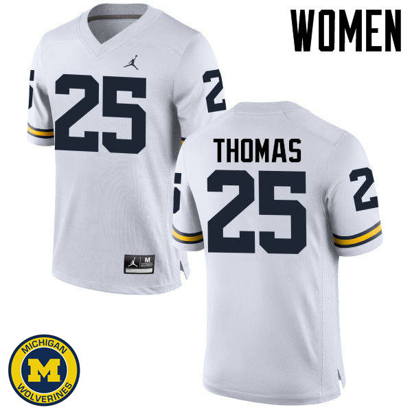 Women Michigan Wolverines #25 Dymonte Thomas College Football Jerseys Sale-White