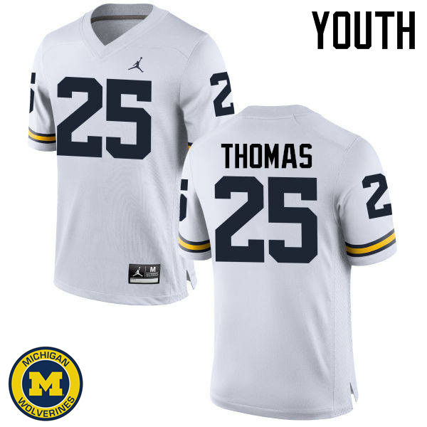 Youth Michigan Wolverines #25 Dymonte Thomas College Football Jerseys Sale-White