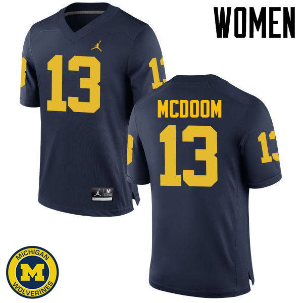 Women Michigan Wolverines #13 Eddie McDoom College Football Jerseys Sale-Navy