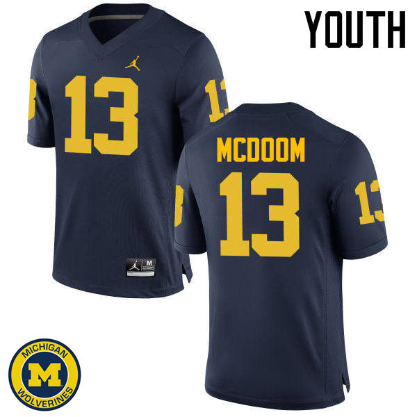 Youth Michigan Wolverines #13 Eddie McDoom College Football Jerseys Sale-Navy