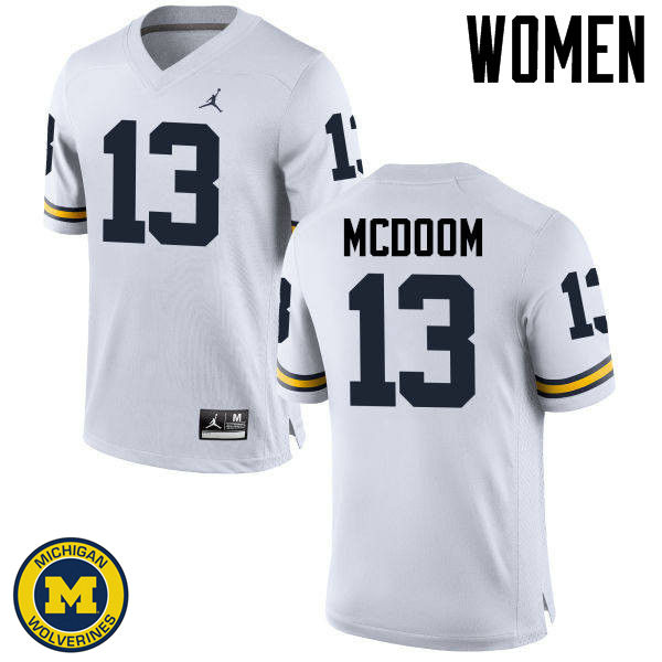 Women Michigan Wolverines #13 Eddie McDoom College Football Jerseys Sale-White