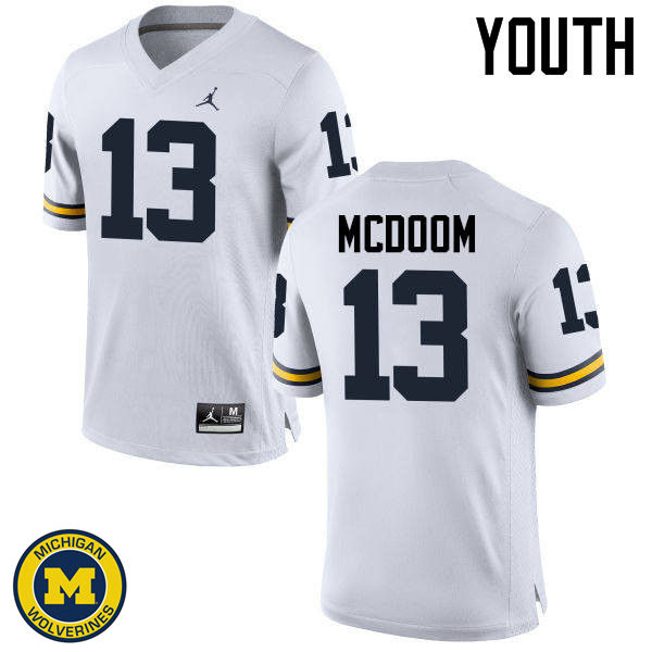 Youth Michigan Wolverines #13 Eddie McDoom College Football Jerseys Sale-White