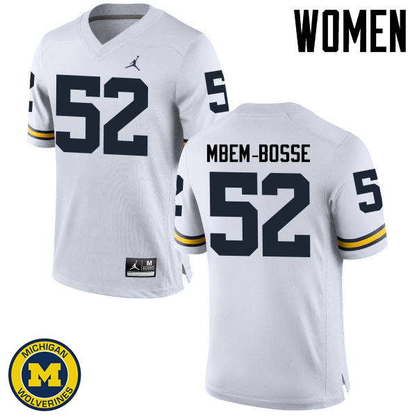 Women Michigan Wolverines #52 Elysee Mbem-Bosse College Football Jerseys Sale-White