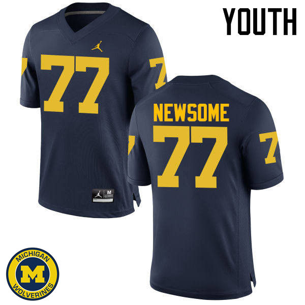 Youth Michigan Wolverines #77 Grant Newsome College Football Jerseys Sale-Navy
