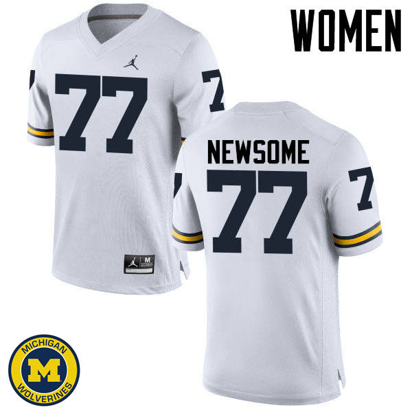 Women Michigan Wolverines #77 Grant Newsome College Football Jerseys Sale-White