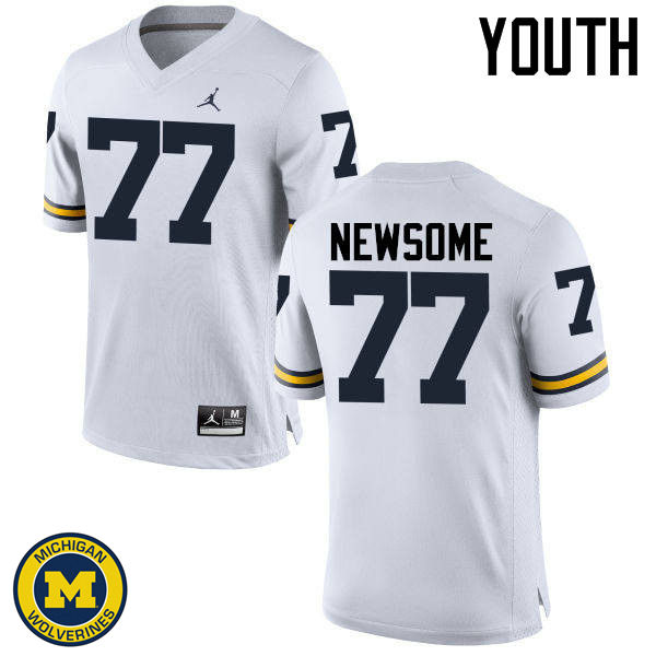 Youth Michigan Wolverines #77 Grant Newsome College Football Jerseys Sale-White