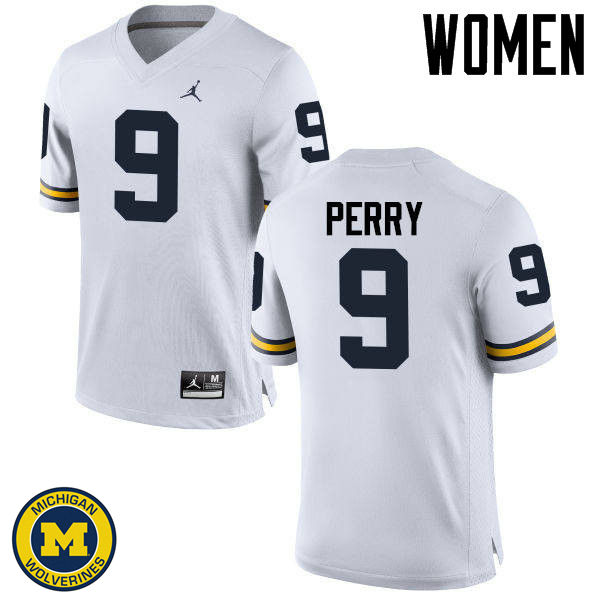 Women Michigan Wolverines #9 Grant Perry College Football Jerseys Sale-White