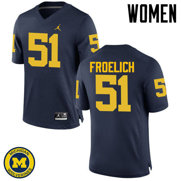 Women Michigan Wolverines #51 Greg Froelich College Football Jerseys Sale-Navy