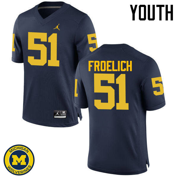 Youth Michigan Wolverines #51 Greg Froelich College Football Jerseys Sale-Navy