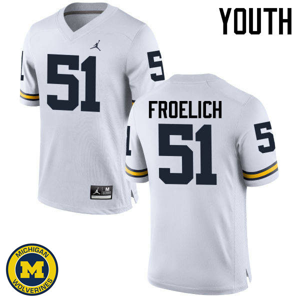 Youth Michigan Wolverines #51 Greg Froelich College Football Jerseys Sale-White