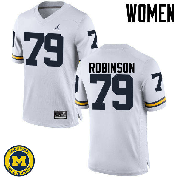 Women Michigan Wolverines #79 Greg Robinson College Football Jerseys Sale-White