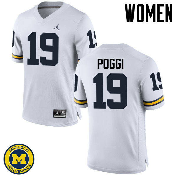 Women Michigan Wolverines #19 Henry Poggi College Football Jerseys Sale-White