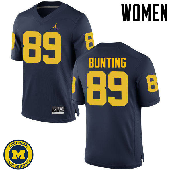 Women Michigan Wolverines #89 Ian Bunting College Football Jerseys Sale-Navy