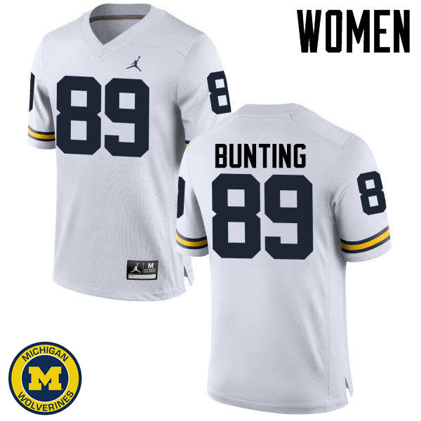 Women Michigan Wolverines #89 Ian Bunting College Football Jerseys Sale-White