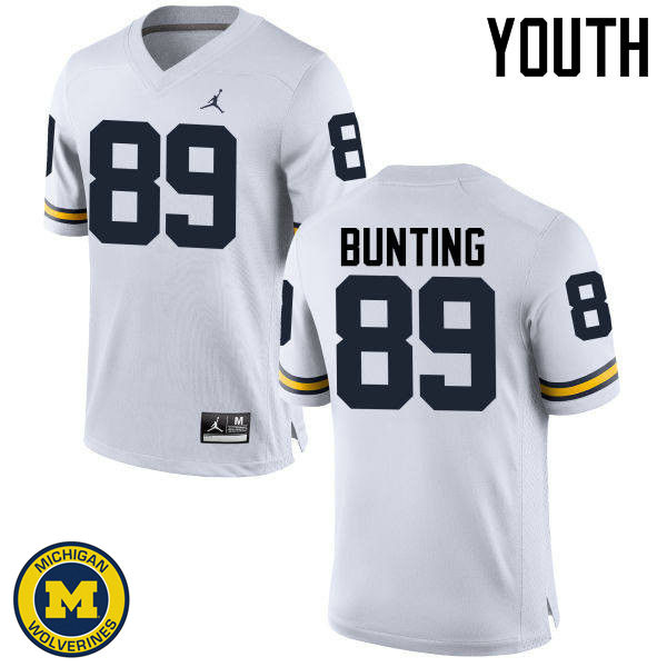 Youth Michigan Wolverines #89 Ian Bunting College Football Jerseys Sale-White