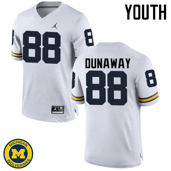 Youth Michigan Wolverines #88 Jack Dunaway College Football Jerseys Sale-White