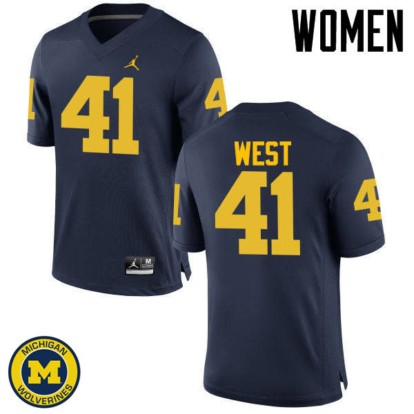 Women Michigan Wolverines #41 Jacob West College Football Jerseys Sale-Navy