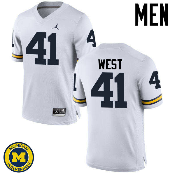 Men Michigan Wolverines #41 Jacob West College Football Jerseys Sale-White
