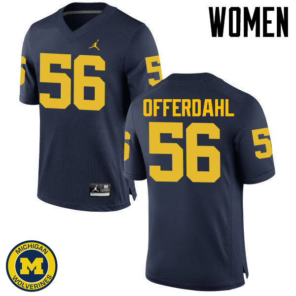 Women Michigan Wolverines #56 Jameson Offerdahl College Football Jerseys Sale-Navy