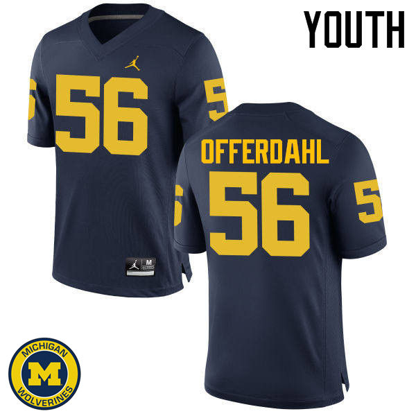 Youth Michigan Wolverines #56 Jameson Offerdahl College Football Jerseys Sale-Navy