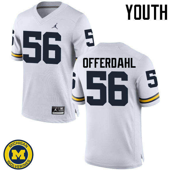 Youth Michigan Wolverines #56 Jameson Offerdahl College Football Jerseys Sale-White