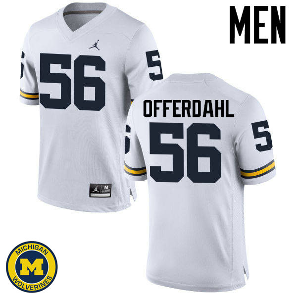 Men Michigan Wolverines #56 Jameson Offerdahl College Football Jerseys Sale-White