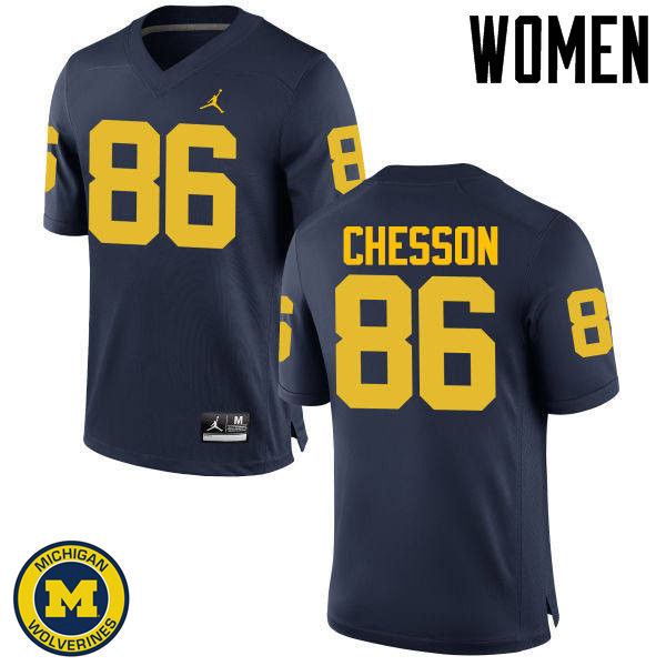 Women Michigan Wolverines #86 Jehu Chesson College Football Jerseys Sale-Navy