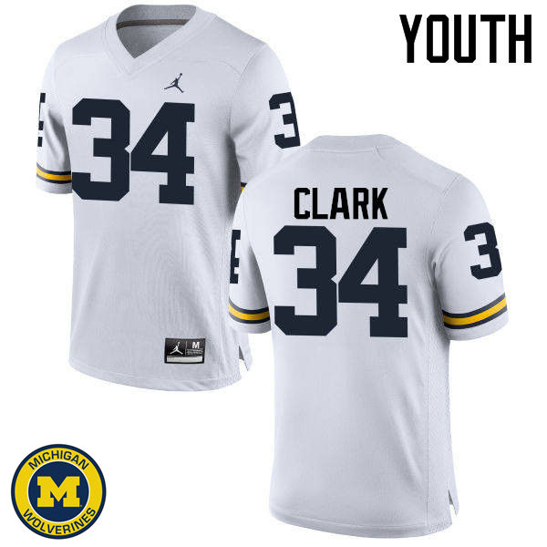 Youth Michigan Wolverines #34 Jeremy Clark College Football Jerseys Sale-White