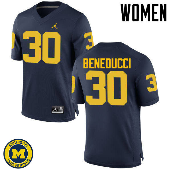Women Michigan Wolverines #30 Joe Beneducci College Football Jerseys Sale-Navy