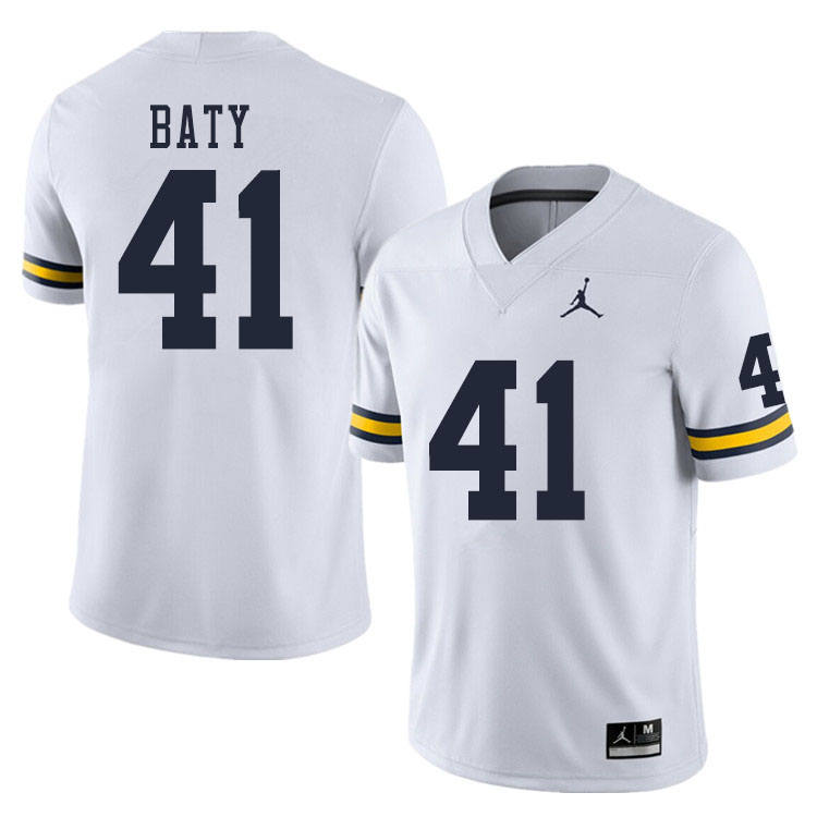 Men #41 John Baty Michigan Wolverines College Football Jerseys Sale-White