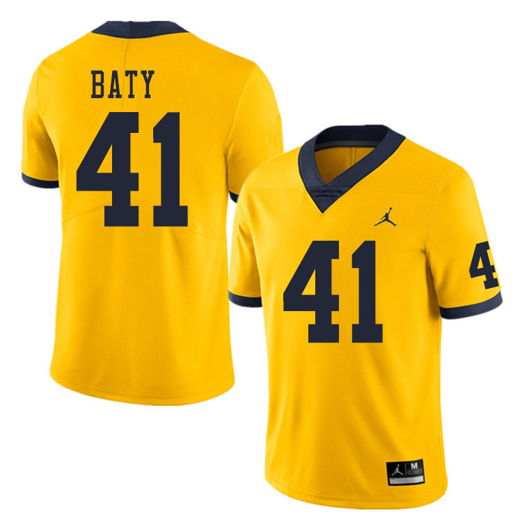 Men #41 John Baty Michigan Wolverines College Football Jerseys Sale-Yellow
