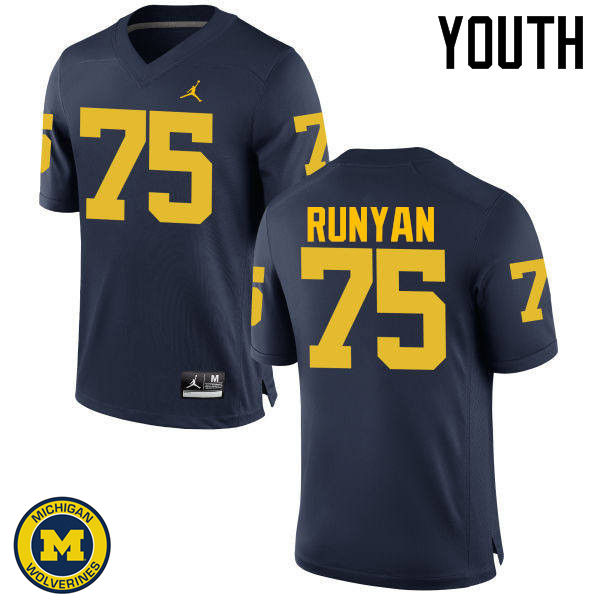 Youth Michigan Wolverines #75 Jon Runyan College Football Jerseys Sale-Navy