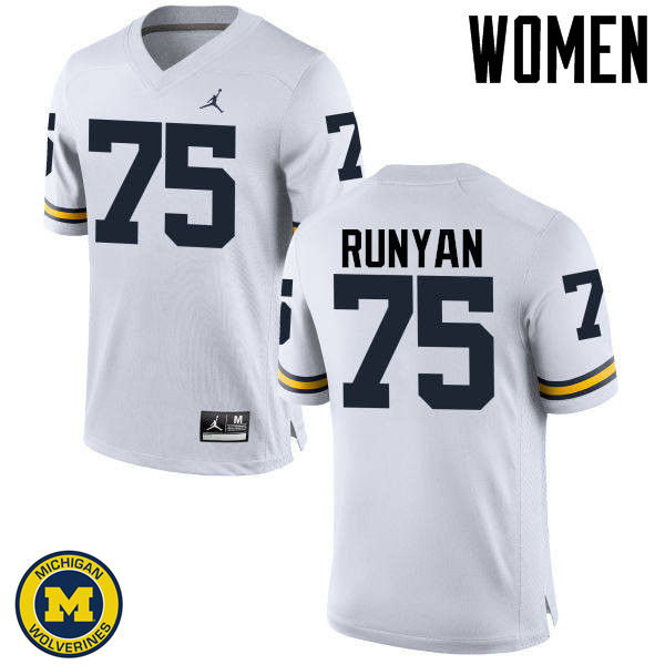 Women Michigan Wolverines #75 Jon Runyan College Football Jerseys Sale-White