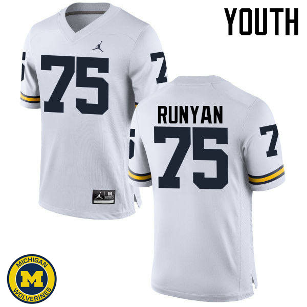 Youth Michigan Wolverines #75 Jon Runyan College Football Jerseys Sale-White