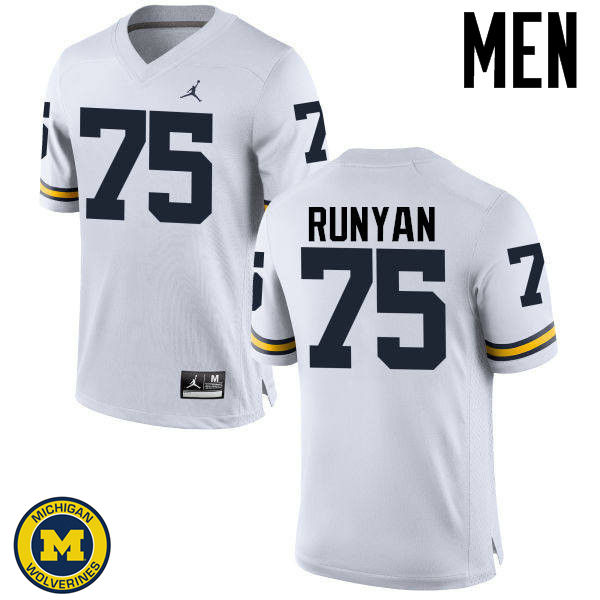 Men Michigan Wolverines #75 Jon Runyan College Football Jerseys Sale-White