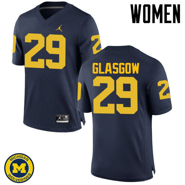 Women Michigan Wolverines #29 Jordan Glasgow College Football Jerseys Sale-Navy