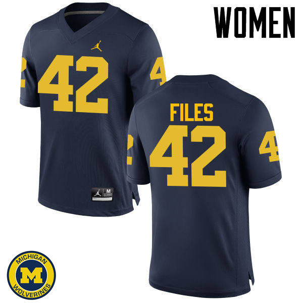 Women Michigan Wolverines #42 Joseph Files College Football Jerseys Sale-Navy