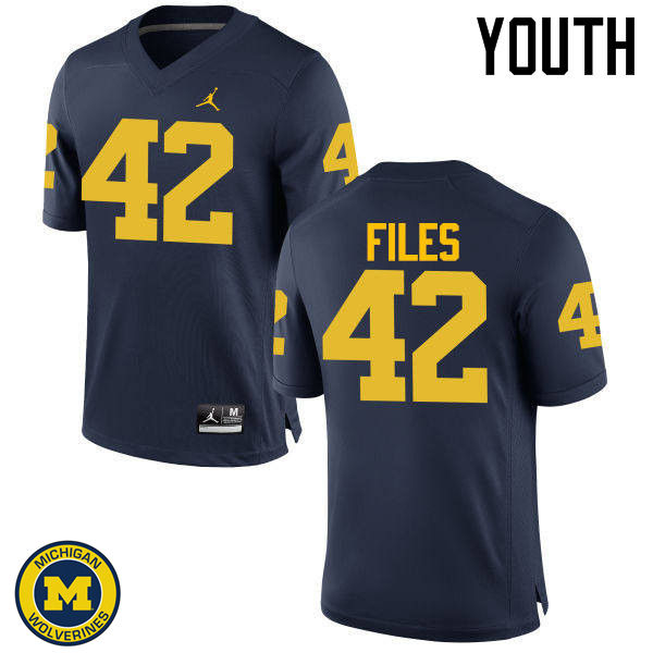 Youth Michigan Wolverines #42 Joseph Files College Football Jerseys Sale-Navy