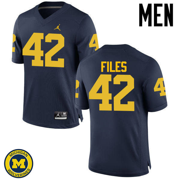 Men Michigan Wolverines #42 Joseph Files College Football Jerseys Sale-Navy