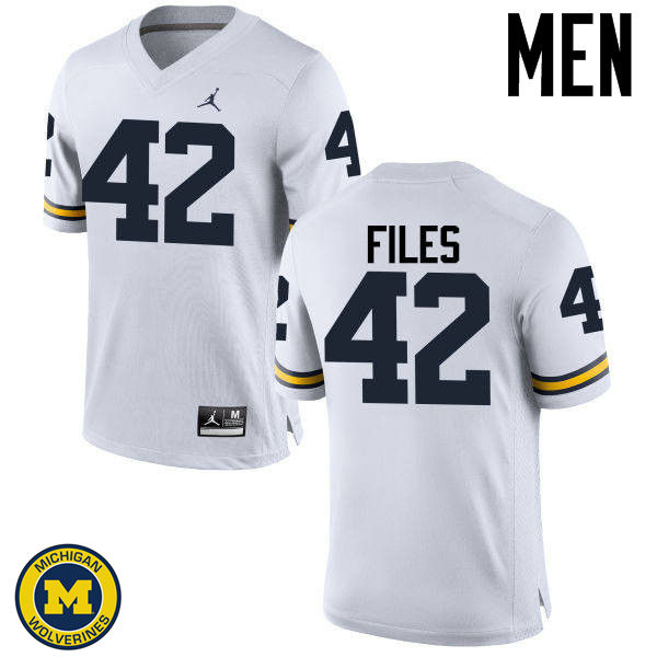Men Michigan Wolverines #42 Joseph Files College Football Jerseys Sale-White