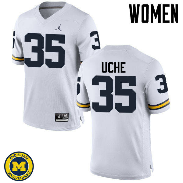Women Michigan Wolverines #35 Joshua Uche College Football Jerseys Sale-White