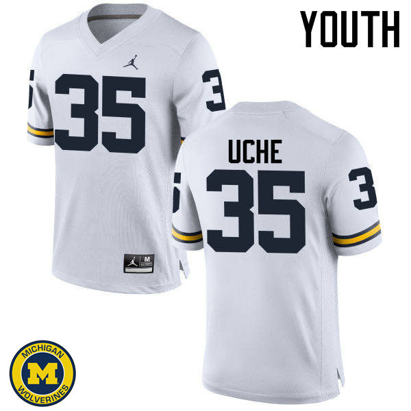 Youth Michigan Wolverines #35 Joshua Uche College Football Jerseys Sale-White