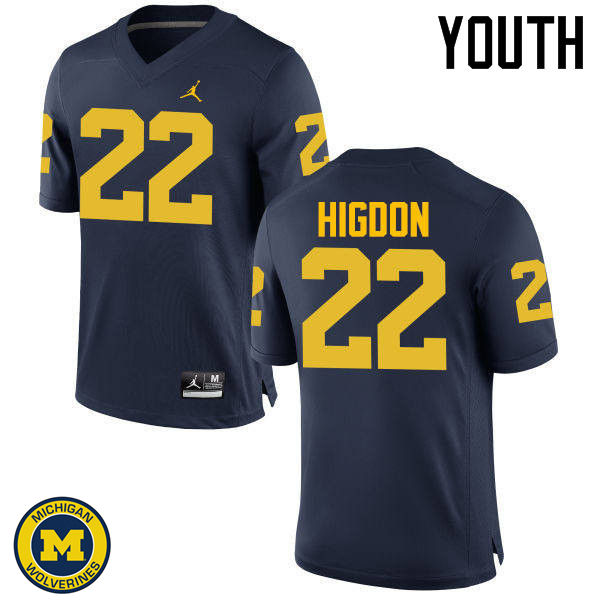 Youth Michigan Wolverines #22 Karan Higdon College Football Jerseys Sale-Navy