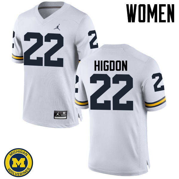 Women Michigan Wolverines #22 Karan Higdon College Football Jerseys Sale-White