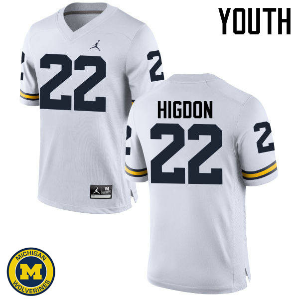 Youth Michigan Wolverines #22 Karan Higdon College Football Jerseys Sale-White
