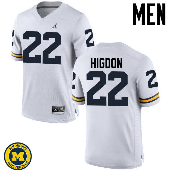 Men Michigan Wolverines #22 Karan Higdon College Football Jerseys Sale-White