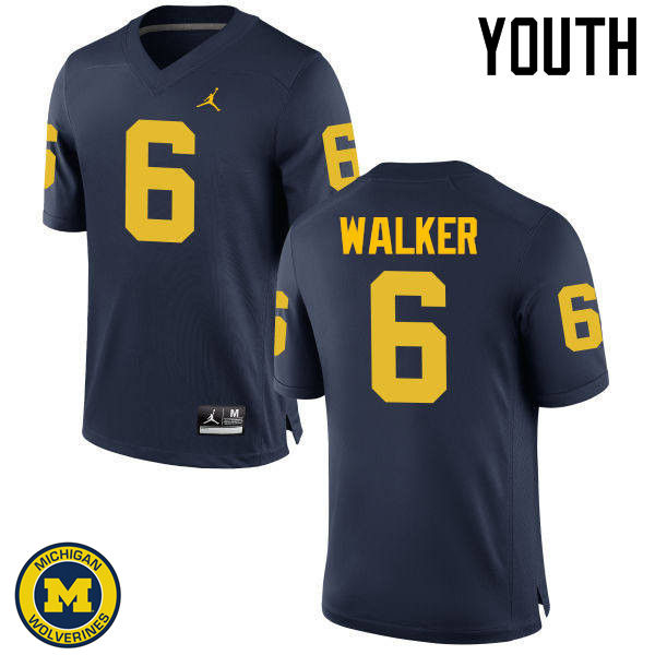 Youth Michigan Wolverines #6 Kareem Walker College Football Jerseys Sale-Navy