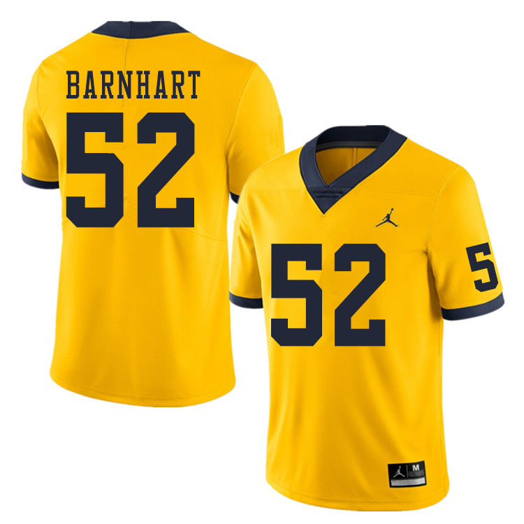 Men #52 Karsen Barnhart Michigan Wolverines College Football Jerseys Sale-Yellow